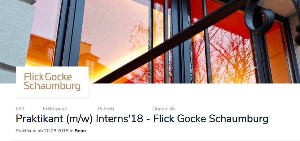 Interns´18 - Praktikantenprogramm - Flick Gocke Schaumburg