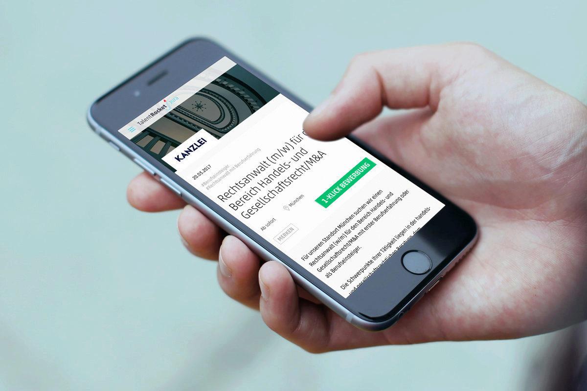 Mit 1 Klick als Jurist bei Kanzleien bewerben - auch mit dem Handy! - TalentRocket